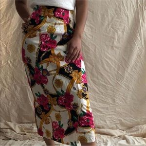 [Vintage] Floral High Waisted Wrap Pencil Skirt
